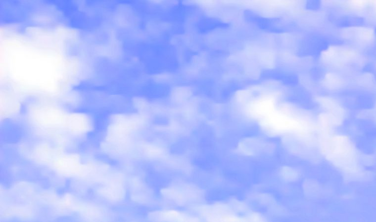 Realistic editable vector illustration of light clouds on a blue sky made with a gradient mesh
