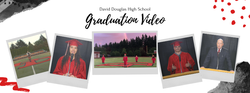Photo collage of screenshots from the graduation video (student speakers and performers).