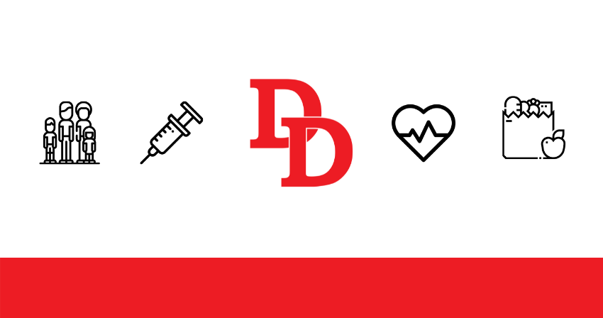 DD logo with icons: family, vaccine syringe, heart, grocery bag