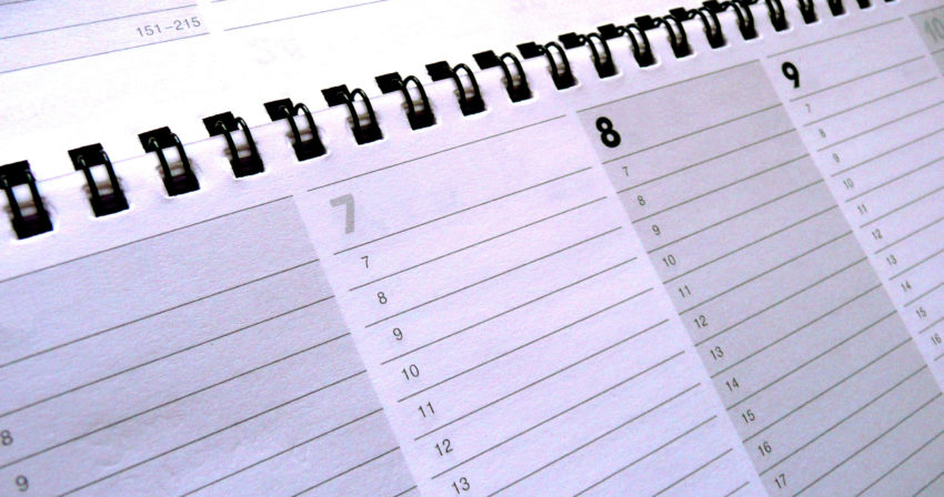 close photo of planner calendar pages: 7th, 8th, 9th visable